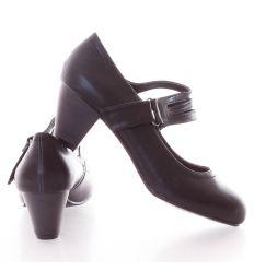 Bokánál pántos, csinos női műbőr kopogós cipő (L51186)