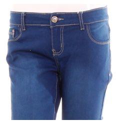 Csőszárú, köves hímzett zsebű, rugalmas női farmer nadrág (DM2807-1)