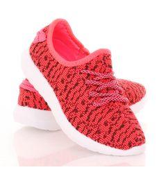 Könnyű, gumis talpú, fűzős sportcipő, mintás textil felsőrésszel (88-607)