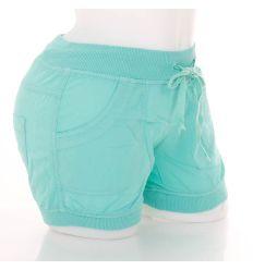 Megkötős, húzott szárú női lenvászon rövid nadrág (Z-3-320)