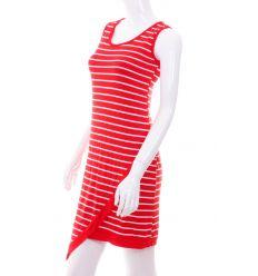 Csíkos, alján szabdalt, ujjatlan női ruha (NW-837)