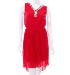 Láncos, v-nyakú, derekán gumis, rakott szoknyás női ruha (Q876)
