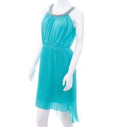Gyöngyös-köves nyakú, vállpántos, rakott szoknyás női ruha (Q877)
