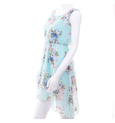 Virágos, derekán gumis női nyári ruha, hátul hosszabb (KD1615)