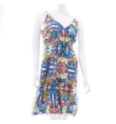 Virágos, mellben szabott, kivágott, gumis női ruha vegyes mintás (KD1612)