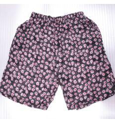 Virágos, pöttyös, gumis derekú női pamut térd nadrág (K-703)