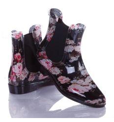 Rózsás, gumis női boka gumicsizma (W19)