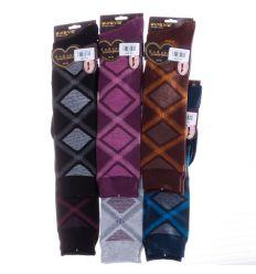 Káró mintás, pamut női térd zokni (NT257)