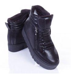 Bélelt, fényes anyagú, vastag talpú, 2 oldalt cipzáros cipő (AAA-42)