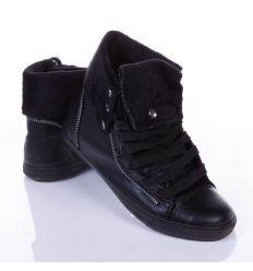 Bélelt, lehajtható szárú, cipzárral díszített női magasszárú műbőr cipő (B039)