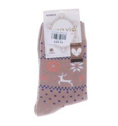 Téli mintás, pamut női normál zokni (NX6622)