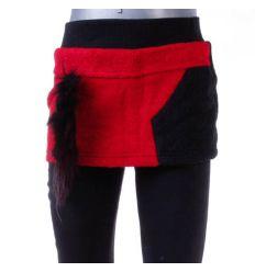 Bundás, szőrmecsíkkal díszített lány szoknya-leggings (A4175)