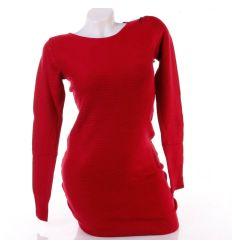 Egyszínű, puha, bordázott anyagú női tunika, miniruha (S-3723)