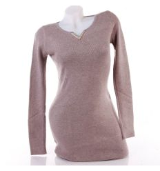 Köves, arany v-nyakú női egyszínű tunika, miniruha (256)