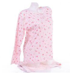 Virágos-kockás mintás, vékonyabb pamut anyagú női hosszú pizsama (554)
