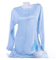 Virág mintás, vékonyabb pamut anyagú női hosszú pizsama (1011)