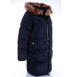 Bélelt, szőrmés kapucnis, női hosszú téli kabát (WS255-2)