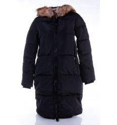 Bélelt, szőrmés kapucnis, női hosszú téli kabát (WS255-1)