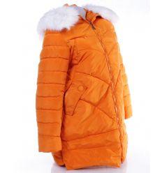 Szőrmés kapucnis, zsebes női hosszú kabát (WS-302-11)