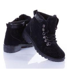 Strasszköves, bundás, fűzős női cipő, bakancs (L-210)