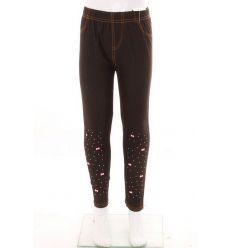 Szárán köves masnis, bevarrt gumis, farmeres lány leggings (778-4)