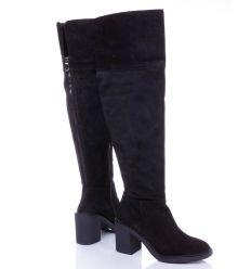 Zign hátul cipzáros, enyhén bélelt, bőr női csizma (ZI111MA05)