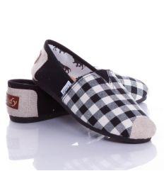 Orrán kis kockás, belebújós vászon női cipő, slip-on (0015-26)