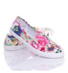 Színes virágos, belebújós női vászon cipő, slip-on (88-211)