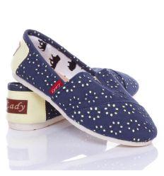 Anyagában virág mintás, belebújós női vászon cipő, slip-on (0015-31)