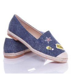 Mintás, csillámos, farmeres anyagú női belebújós vászon cipő, slip-on (JH21)