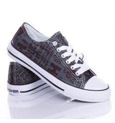 Feliratos, ezüst szálasz, fűzős vászon torna cipő (CQ-26)