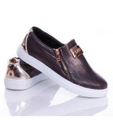 Mintás, arany bilétás, cipzáros belebújós női slip-on cipő (88-705)