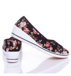 Kis virágos éksarkú női vászon balerina cipő (0015-23)