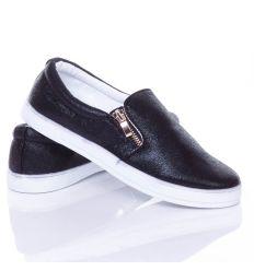 Fényes, 2 oldalt cipőzáros női vászon slip-on cipő (JX39)