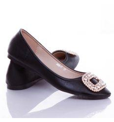 Strasszköves csatos elegáns női balerina cipő (A88-7)