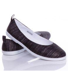 Egyszínű, fényes szállal díszített női vászon balerina cipő (JX23)