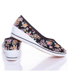 Apró rózsa mintás, éksarkú, női vászon balerina cipő (0015-23)