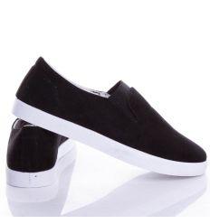 Lábfejnél gumis, egyszínű, női velúr slip-on cipő (BL91)