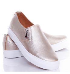 Oldalt gumis-cipzáros, műbőr, női belebújós slip-on cipő (NB82)