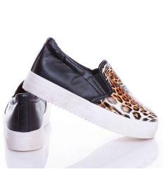 Orrán leopárd mintás, vastagabb talpú női műbőr slip-on cipő (BL38)