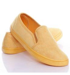 Egyszínű, 2 oldalt gumis, női velúr slip-on cipő (JX40)