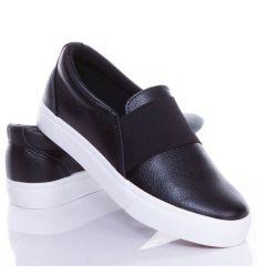 Lábfejnél széles gumis, egyszínű női műbőr belebújós, slip-on cipő (NB72)