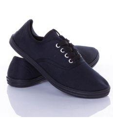 Egyszínű, fűzős, uniszex vászon tornacipő (QF06)