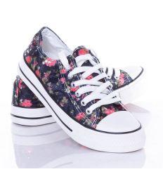 Virágos-flitteres, fűzős női vászon tornacipő (BL46)