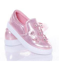 Orrán szegecses-virágos, gumis, belebújós női slip-on cipő (AB-124)