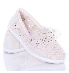 Horgolt, lábfejnél gumis, női vászon papucscipő (BV10)