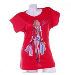 Shopping, csajos női pamut denevérujjú felső