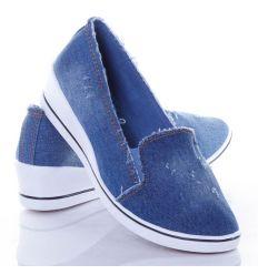 Farmeres anyagú, lábfejnél magasabb női éksarkú vászon cipő (J.B.P-6)
