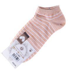 Csíkos, orrvarrás nélküli pamut női boka titok zokni (ND909)