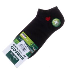 Piros szíves, bambuszos női boka titok zokni (NND100)